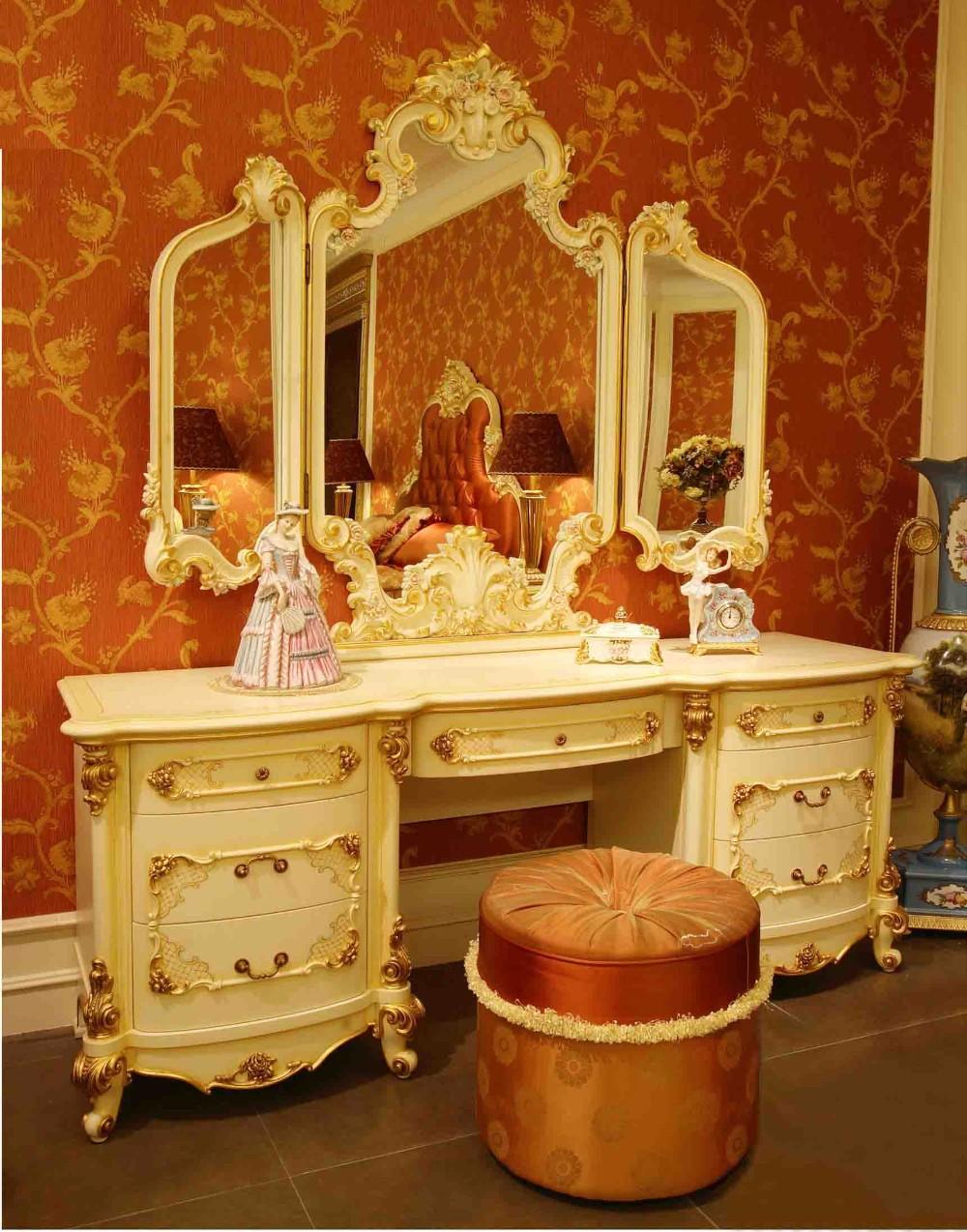 Lujo Rococ Franc S Blanco Dorado Mesa De Tocador Y Espejo Estilo  # Muebles Dorados