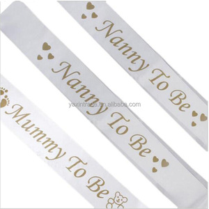 Glitter Gold Mummy To Be Footprint Baby Shower Sash Satin Party Favor