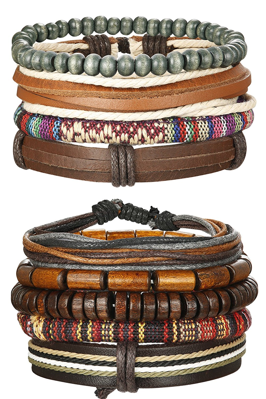 Udalyn 4-9Pcs Leather Bracelet Set Wooden Beads Bracelets Rope Wrap Bangle Hemp Cords Wristband For Men