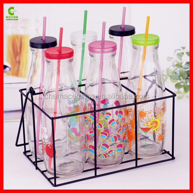 Dairy Antique Glass Milk Drink Bottles with Strong Reusable Plastic Straws