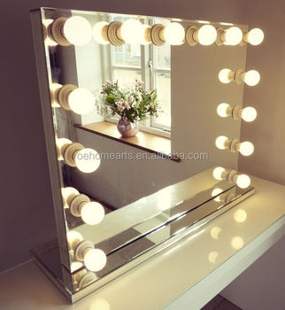 Hollywood Lighted Makeup Vanity Mirror White Led Bulbs