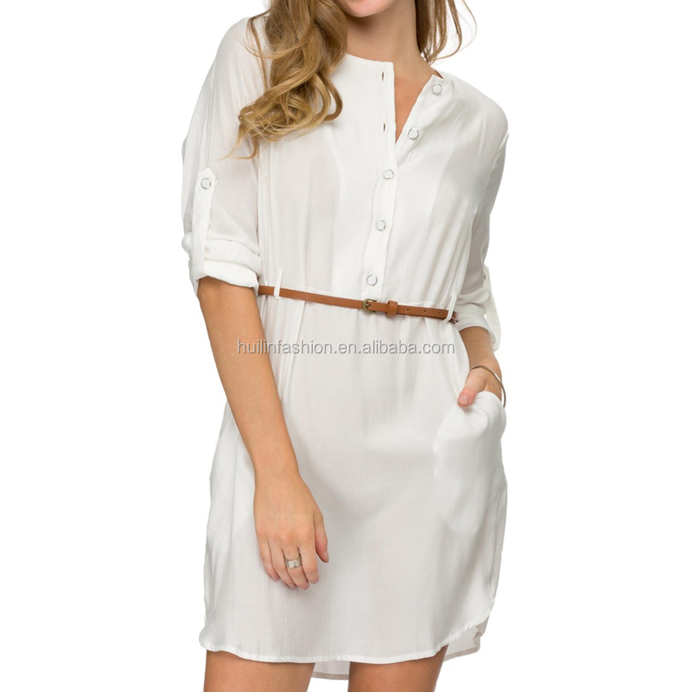 Camisa Cinto Vestido De Manga Longa Das Mulheres Vestido Ocasional 2015 Moda Vestido Midi Branco Buy Camisa De Vestidovestido Casualmidi Vestido