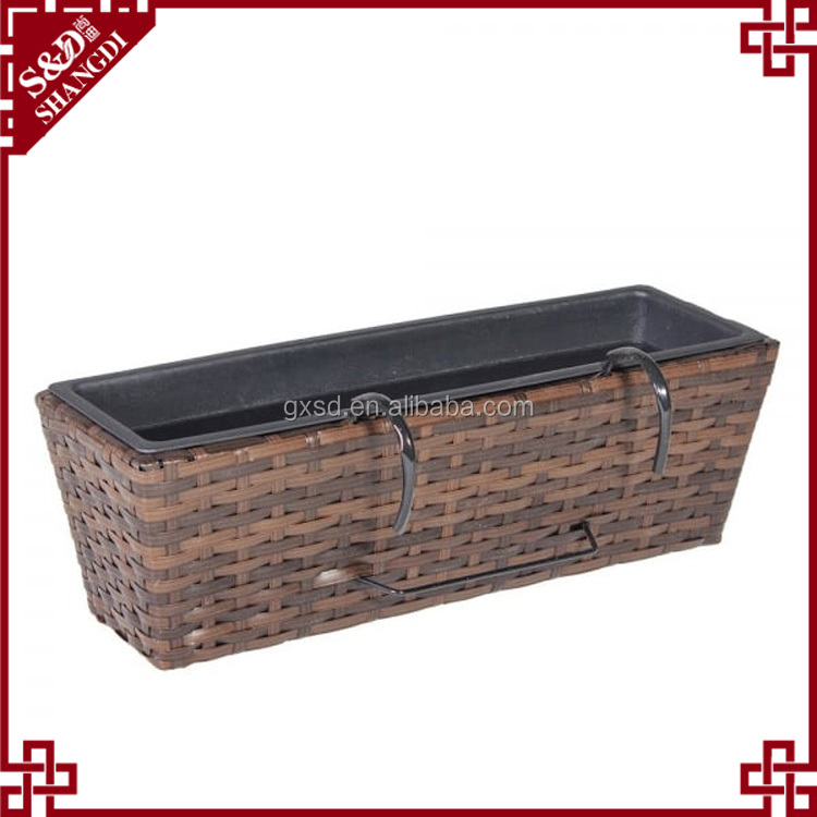 High quality rectangular shape large wicker rail planter