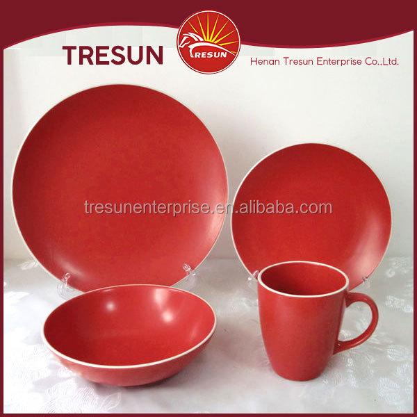 moderne restaurant vaisselle 16 pcs rouge couleur glaure ensemble de vaisselle avec blanc jante grs - Vaisselle Colore Pas Cher