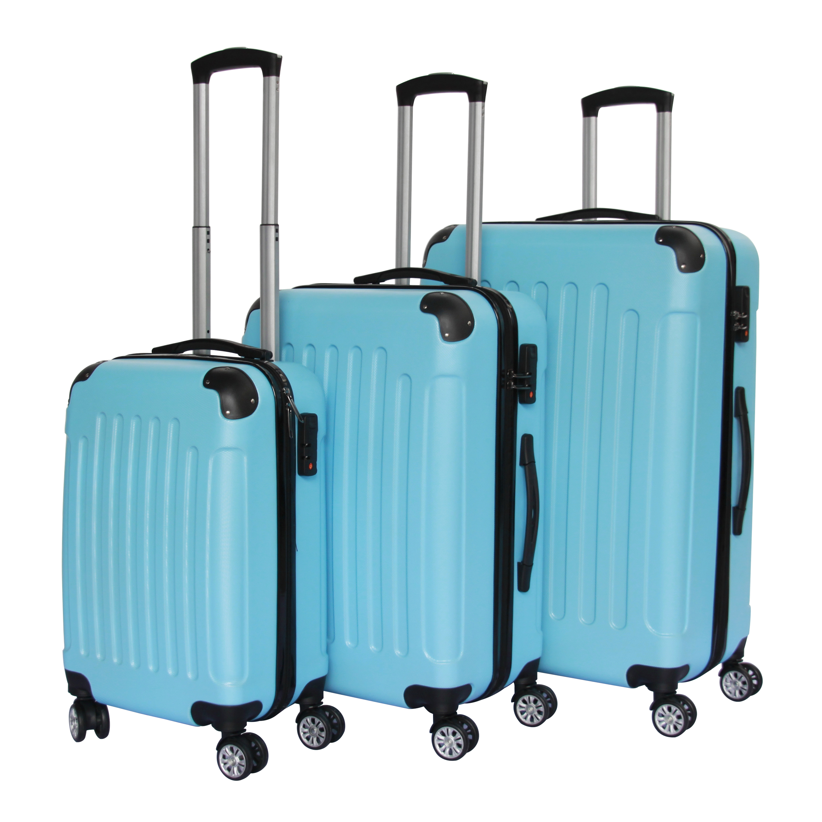 2018 abs 3 piece luggage set USB charger function  hard shell suitcase spinner luggage