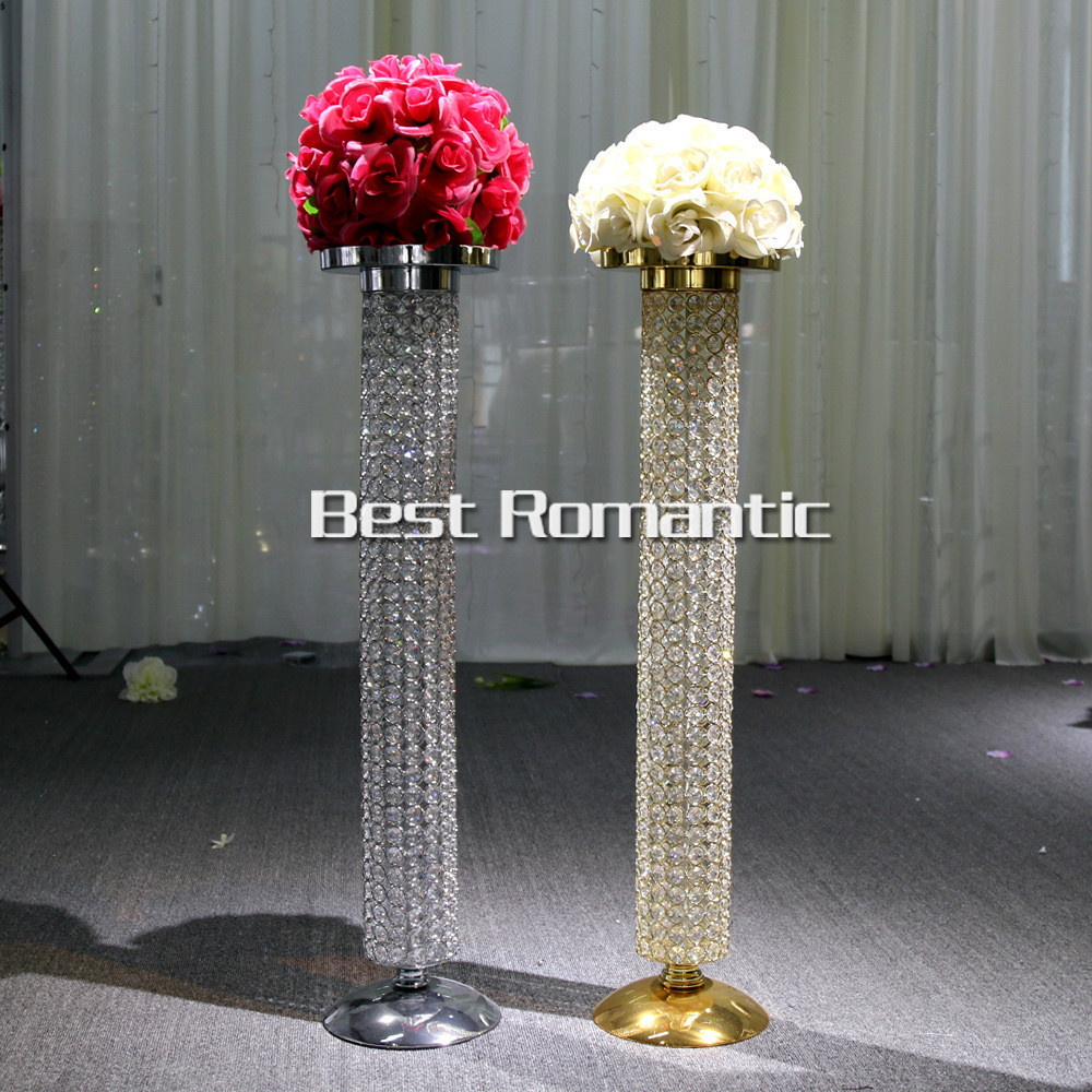 80cm Tall 10pcs Gold Silver Wedding Crystal Centerpiece