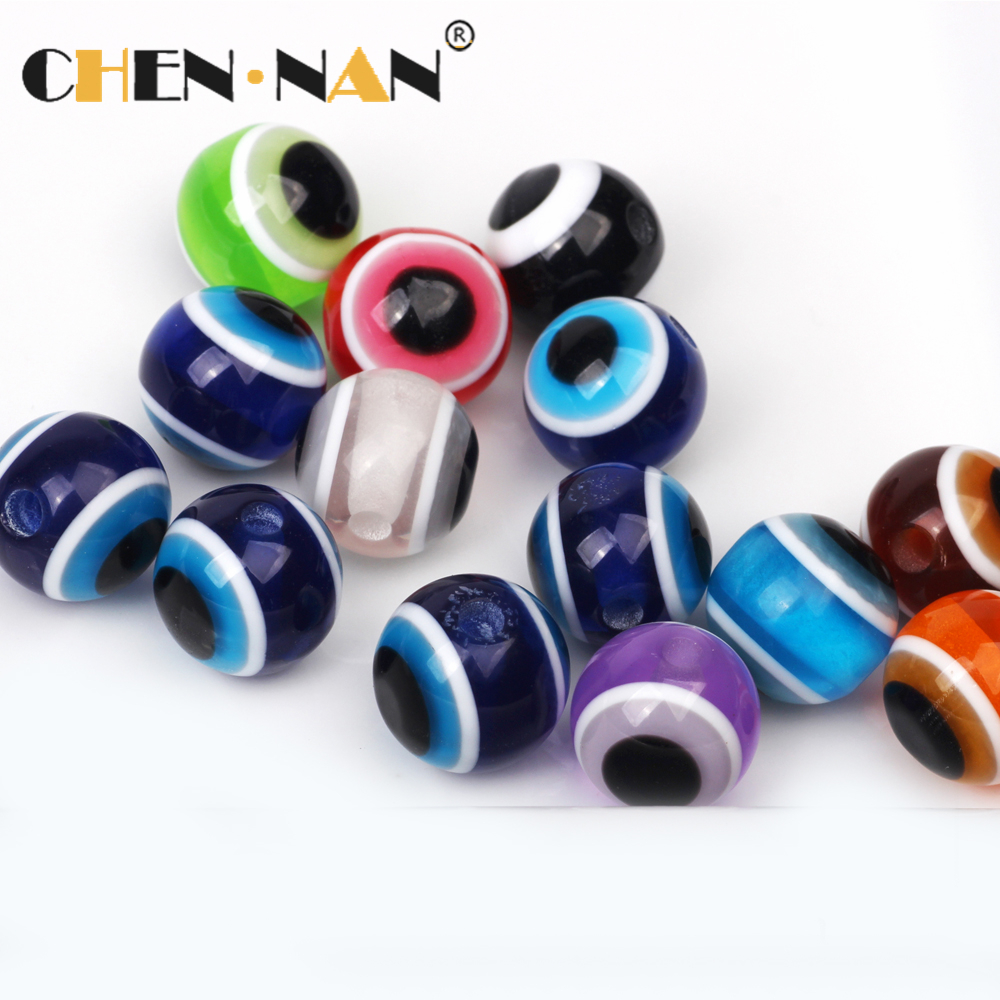 Pujijang Factory Outlet Resin Loose Colorful 12mm Turkish Evil Eyes Beads For Jewelry Making