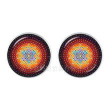 Винтажные серьги в виде мандалы OM Yoga Zen, очаровательные ювелирные изделия для женщин, 12 мм, Стеклянные Кабошоны, серьги-гвоздики для женщин, д...(Китай)