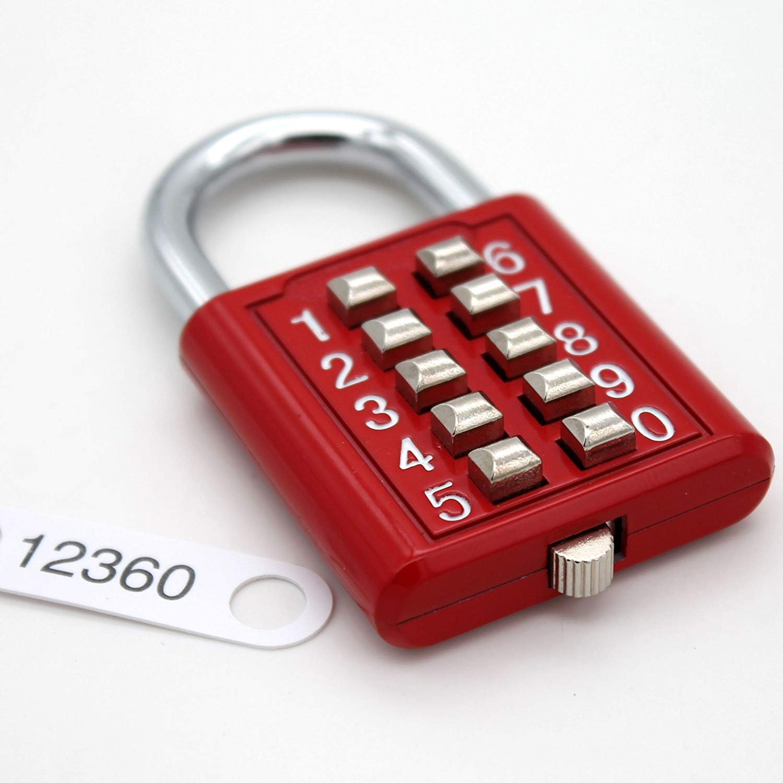 MIONI Guard Security 10 Digit Push Button Combination Padlock, 5 Digit Locking Mechanism