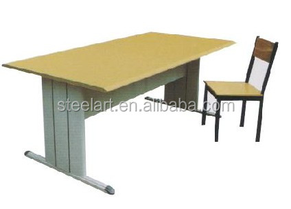 School furniture for library student reading table and chair top wooden steel legs