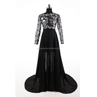Cheap Black Chiffon Sequin Embroidered Backless Evening Dress with Long Sleeve