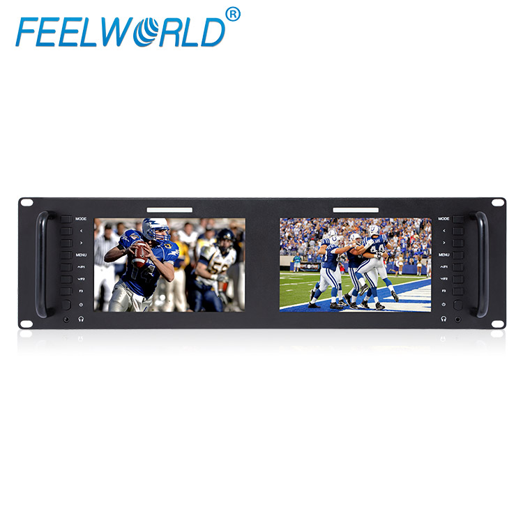 FEELWORLD 3G-SDI broadcast 19 Inch dual rack mount video monitor with Loop Through and multiple formats