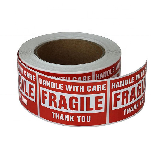 500 per Roll 12 Rolls Permanent Adhesive Labels Fragile Stickers 2 x 3 Inch Thank You Labels Warning Notice Stickers for Shipping and Packing Handle with Care 12 Rolls, 6000 Labels PF Tech