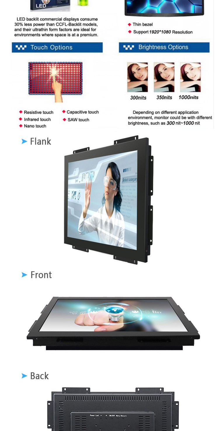 Open Frame Industrial Highly Brightness 10 Inch LCD Square Display Computer Monitor