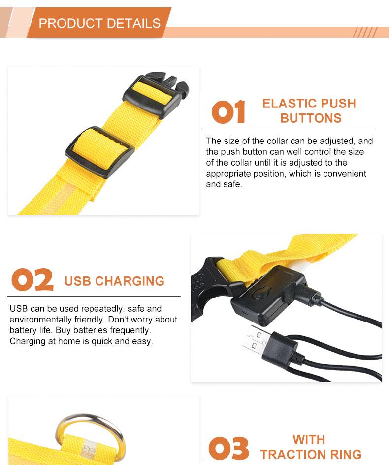 Groothandel Verstelbare USB Oplaadbare Nylon Led Halsband