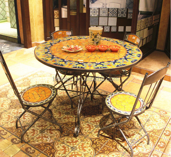 Outdoor Wrought Iron And Ceramic Mosaic Dining Set Mexico