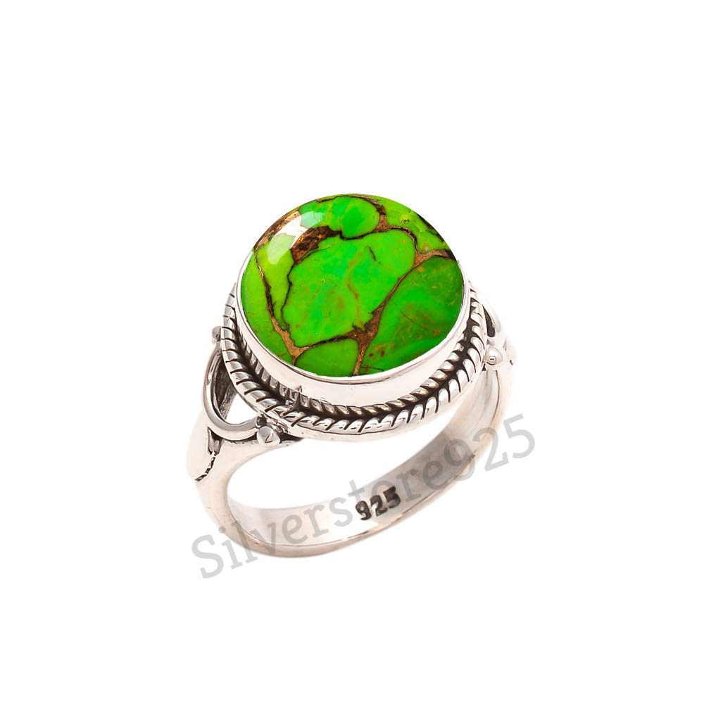 925 Sterling Silver Green Copper Turquoise Ring - Turquoise Stone Gemstone Ring For Girl Women Gift Ring Size 4 5 6 7 8 9 10 11 12 13 14 15 16