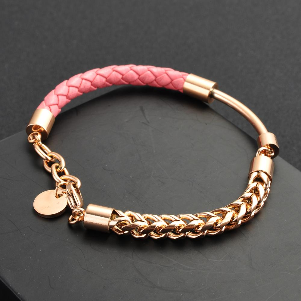 Latest Design Stainless Steel Chain Braided Leather Bracelet For Women
