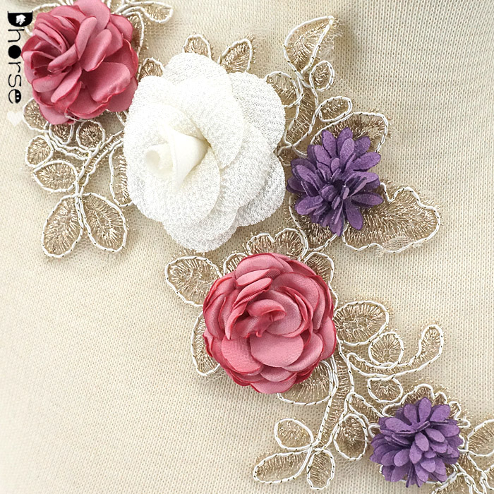 3D Flower Colorful Mesh Embroidered Pearl Beaded Lace Applique DIY Lace Fabric Trim