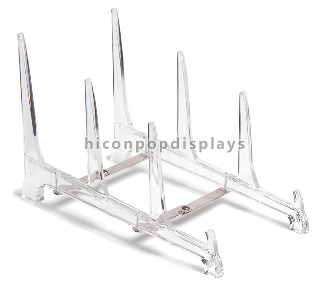 Custom Design Table Top 3 Pieces Kitchen Plate Stand, Clear Acrylic Plate Display Stand Retail
