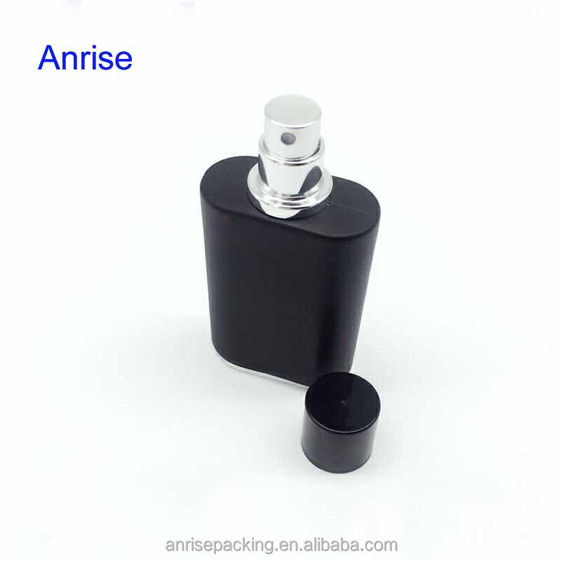 Classic 50ml Black Glass Glass Mens Perfume Bottle Square Refillable Spray Atomizer Bottle with Caps Special for Male Cologne