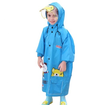 PU overall rain coat kids kart full body one piece rain wear suit set children waterproof poncho