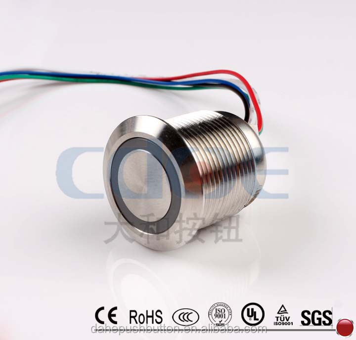 CE ROHS HBGQ19F-10WE 19mm flat round ring-illuminated security metal electrical micro push button switch