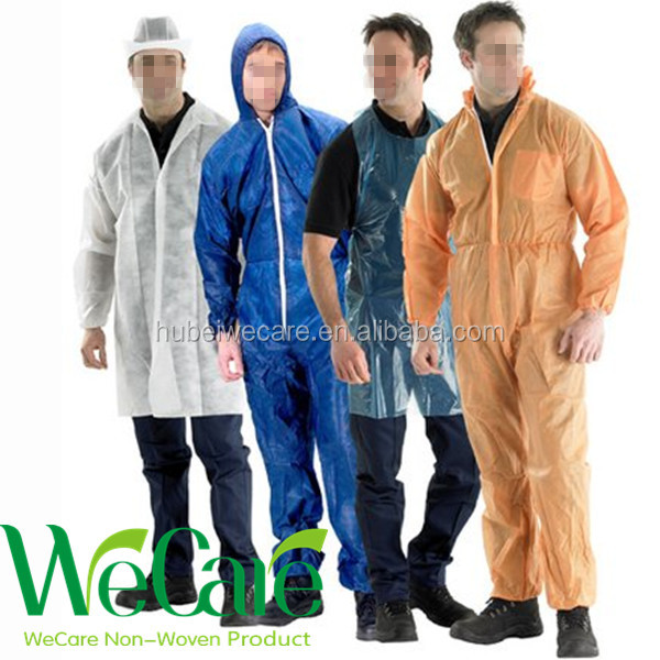 Disposable surgical Protective clothing with hooded S-6XL white 35gsm disposable non woven gowns