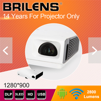 BRILENS Newest 3000 Lumens native 1280*800 Resolution 2019 android Interactive Projectors