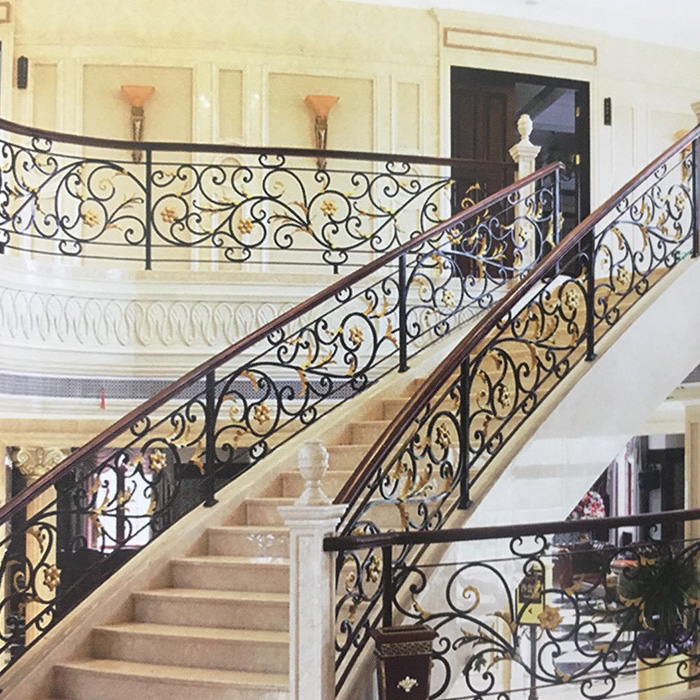 European Luxury Metal Railing Outdoor Stairs Designs In Iron Wrought Stair