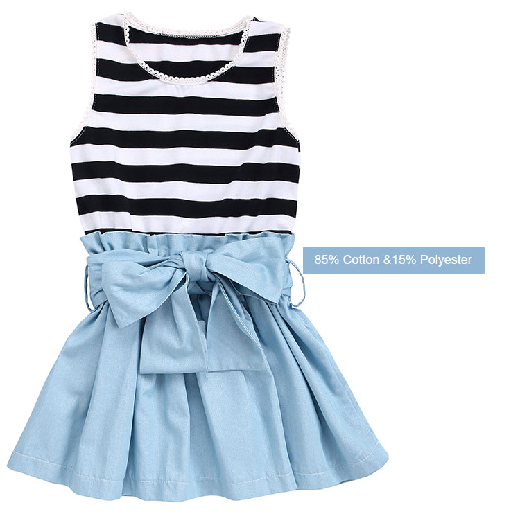 Denim Dress Baby Cotton Dresses Girls sleeveless  Stripes Denim dress