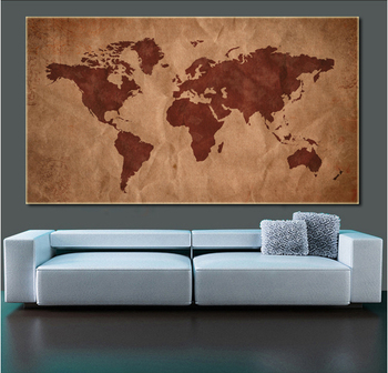 Unframed Abstract World Map Landscape Hd Picture Canvas Print ...