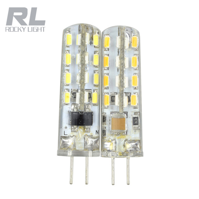 G4 G9 3W LED Bulb 3014 SMD Corn Light Lamp silicone coated,Shatterproof 360 degree Beam Angle,48 LEDS,AC DC 12V,Warm White