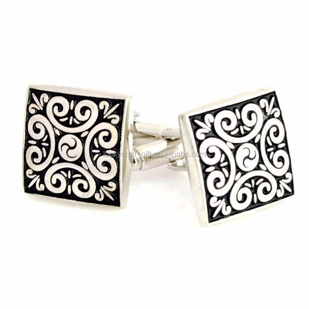 Custom cufflinks manufacturer silver cufflink backs / luxury style logo cufflinks make for men's