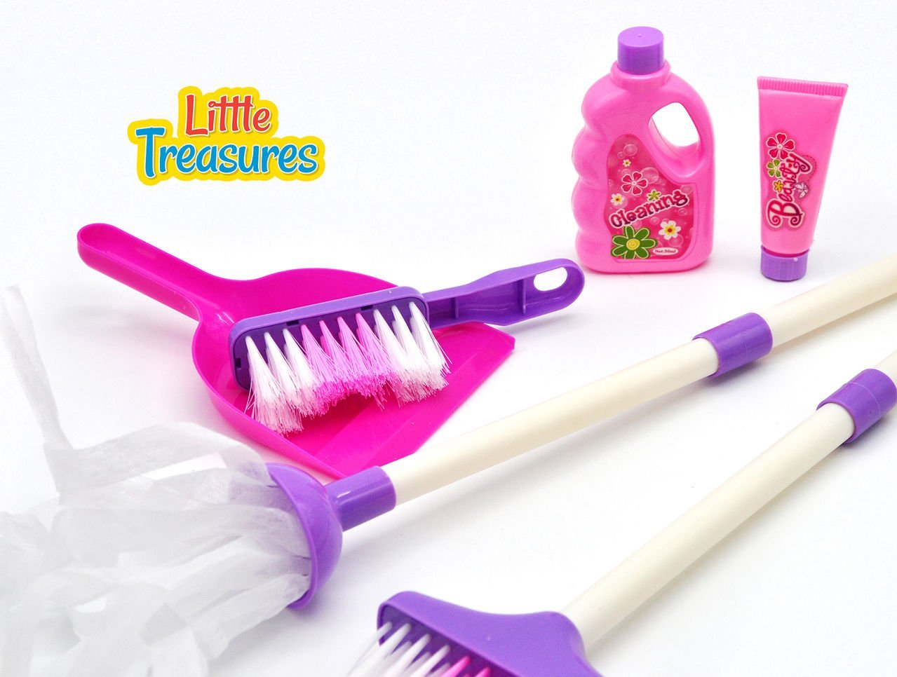 My little helper cleaning play toy set from Little Treasures – Complete with mop, broom, cleaning solutions, hand-broom and dustpan –play set for children 3+ kids have lots of fun helping clean!