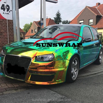 Green Gold Neo Mirror Chrome Vinyl Wrap Holographic Rainbow Laser