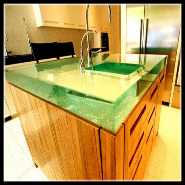 Contemporary backlit onyx glass countertop for home design