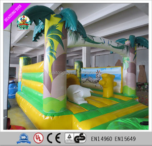 Outdoor safe air bouncer inflatable trampoline with slide combo bounce houses for kids