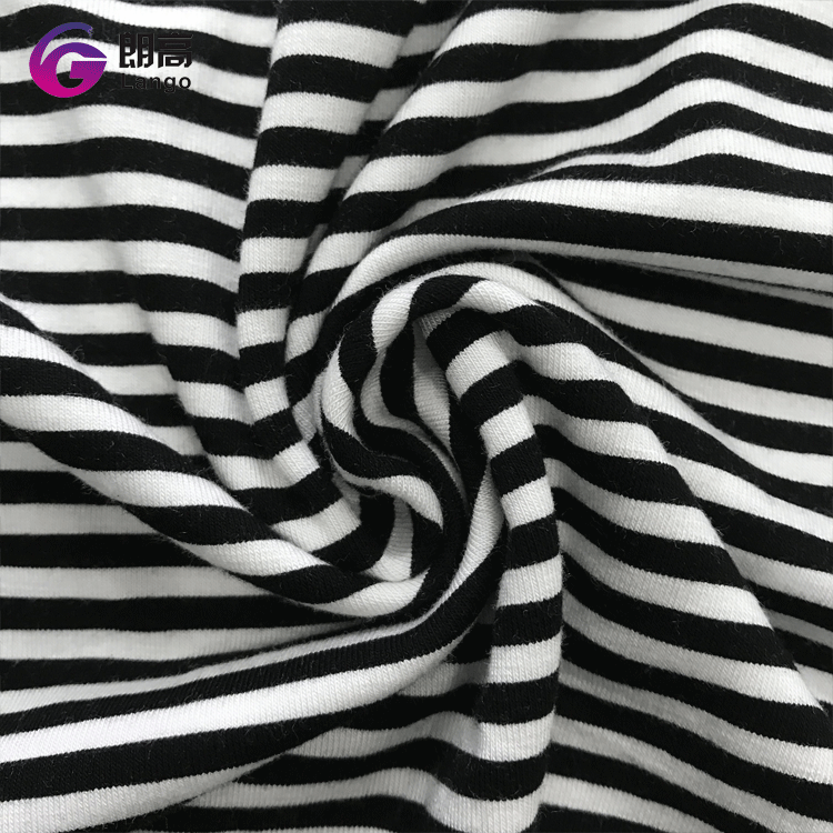 2017 factory direct price hot selling black white stripe fabric, knitted fabric <strong>polyester</strong>