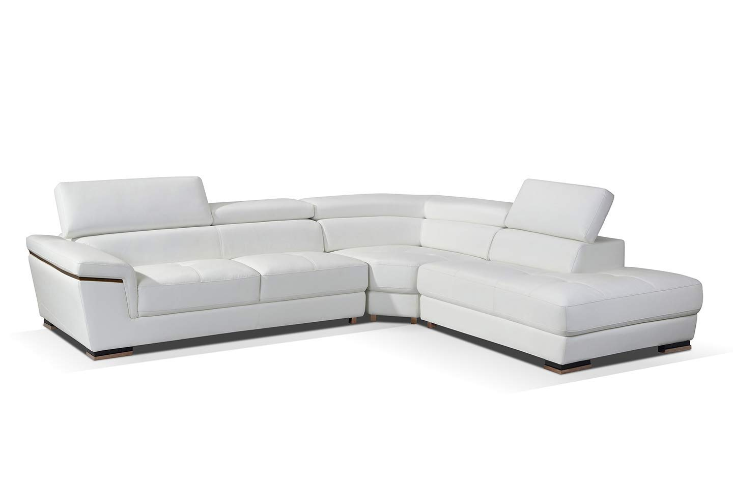 ESF Furniture 2383 Leather Right Hand Facing Sectional Sofa in White