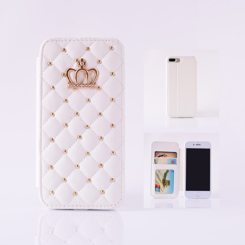 Lattice bling crown leather stand case for iPhone 5 5s 6 6s 6splus 7 8 8s for iPhone X