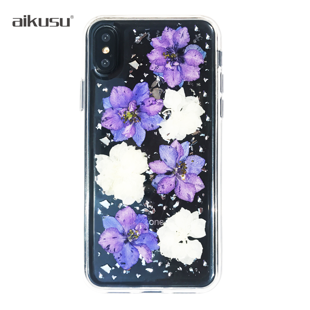 Real dry / dried pressed real flower mobile phone case for iphone / i phone / x / 5 / 5s / 6 / 6s / 7 / 8 / plus