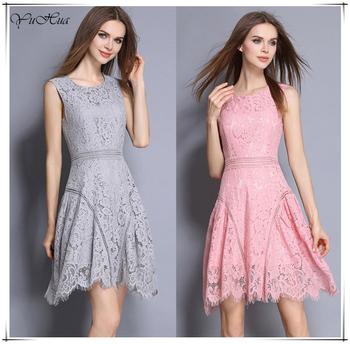 2017 New Pattern Wholesale Young Girls Grey Pink Lace Wedding Dress ...