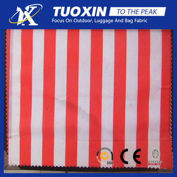 Printing 300t Polyester Pongee Fabric Red White Striped Fabric