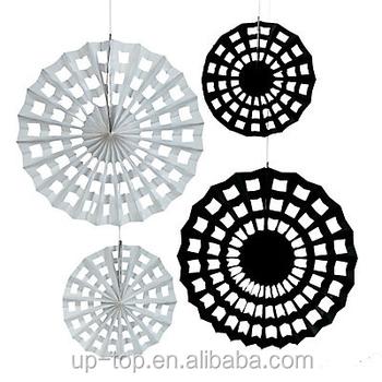 best selling diy black and white paper fan tissue paper fan for