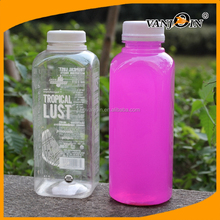 Hot sale BPA FREE 250ml 350ml 500ml French Square Round Plastic Juice /Milk Bottle