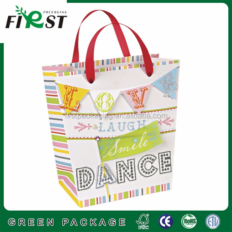 Well design luxury shopping paper Bag with your own logo printed,
