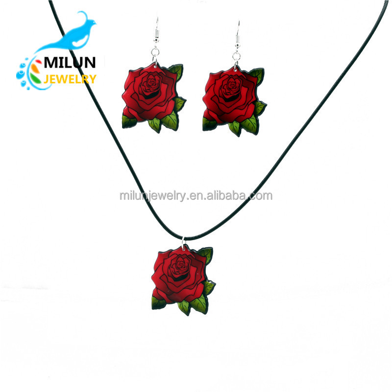 Female Jewelry Rose Flower Necklace Earring <strong>set</strong>