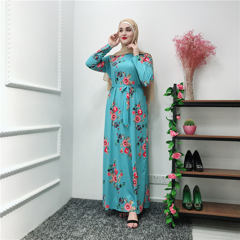 2019 new design jersey fabric abaya floral muslilm long dress islamic clothing