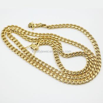14k Gold Plated Cuban Link Chain Necklace Bracelet Sets For Man